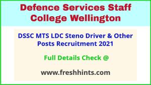 DSSC Wellington Group C Civilian Bharti 2021
