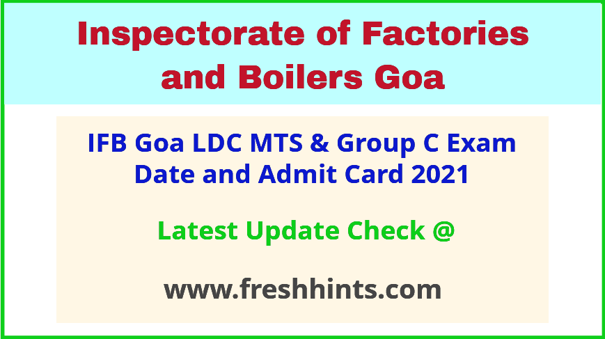 Inspectorate of Factories and Boilers LDC MTS Hall Ticket 2021