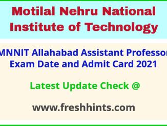 NIT Allahabad Faculty Exam Hall Ticket 2021