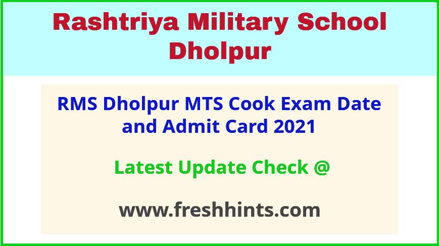 Rashtriya Military School Dholpur Exam Hall Ticket 2021