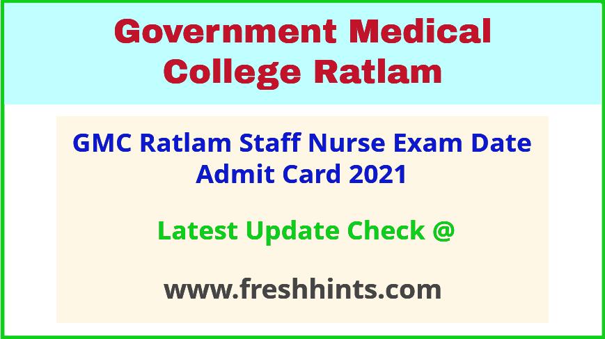Ratlam Medical College Staff Nurse Hall Ticket 2021