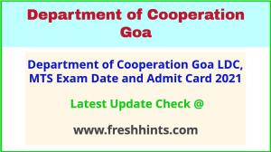 Goa Cooperative Society Exam Hall Ticket 2021