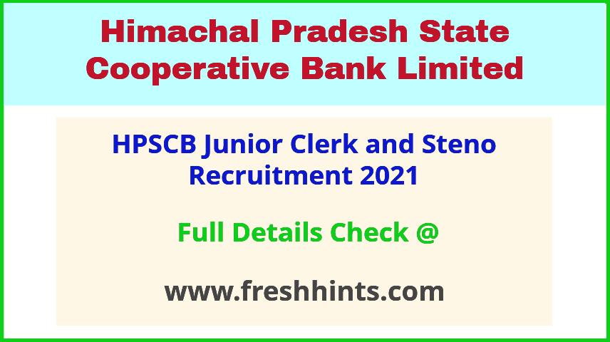 HPSCB Junior Clerk Vacancy Notification 2021