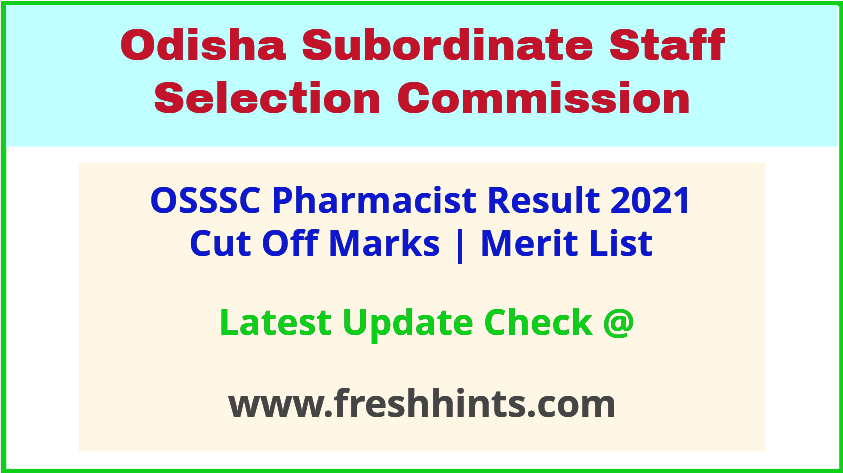Odisha Pharmacist Selection List 2021