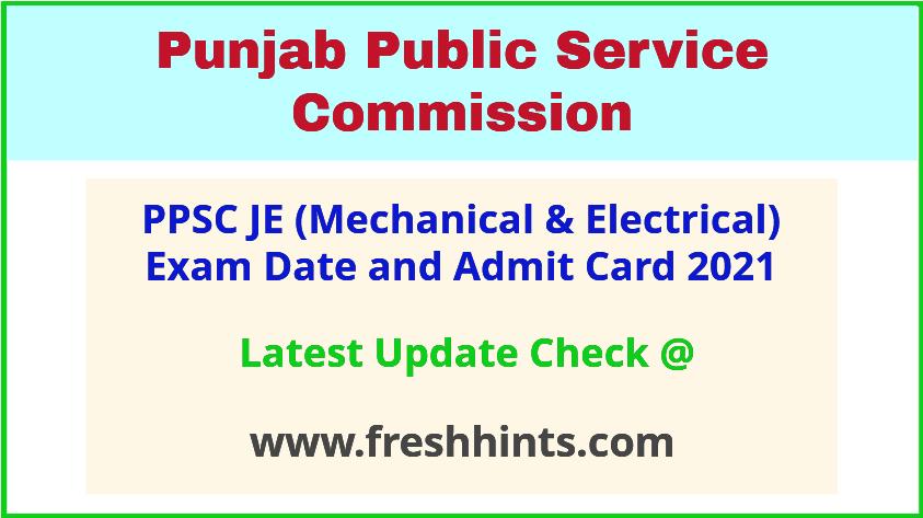 Punjab Junior Engineer Mechanical Electrical Exam Admit Card 2021