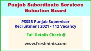 SSSB Punjab Anganwadi Supervisor Vacancy 2021