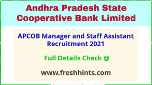 APCOB manager and staff assistant recruitment 2021