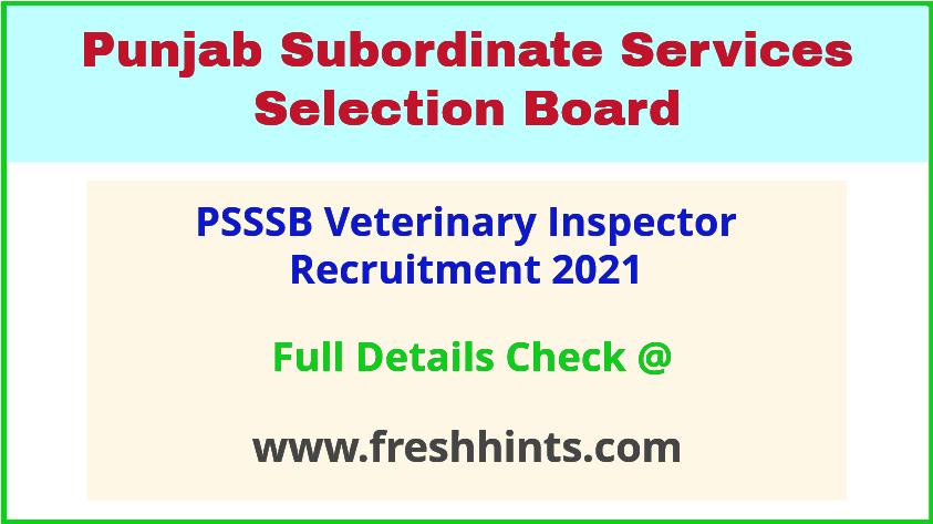 Punjab Animal Husbandry Department Inspector Vacancy 2021