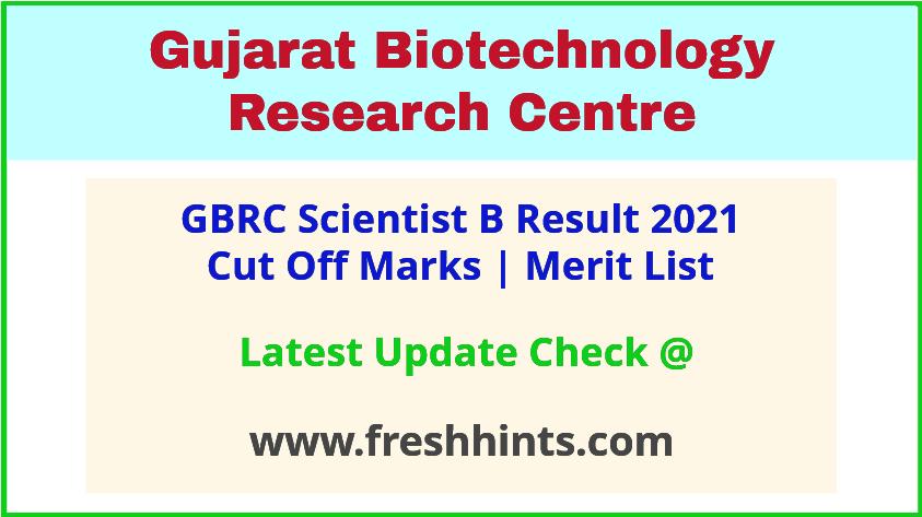 GBRC Scientist B Selection List 2021
