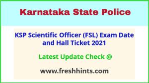 Karnataka Police FSL SO Exam Admit Card 2021