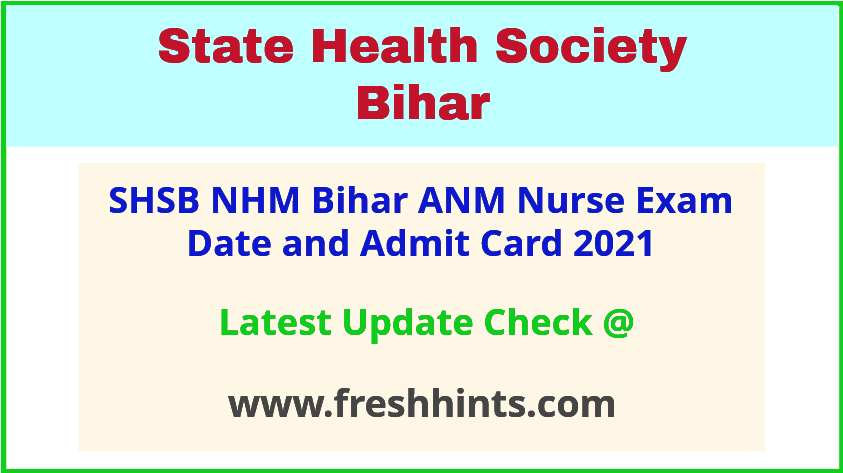 NHM Bihar ANM Exam Hall Ticket 2021