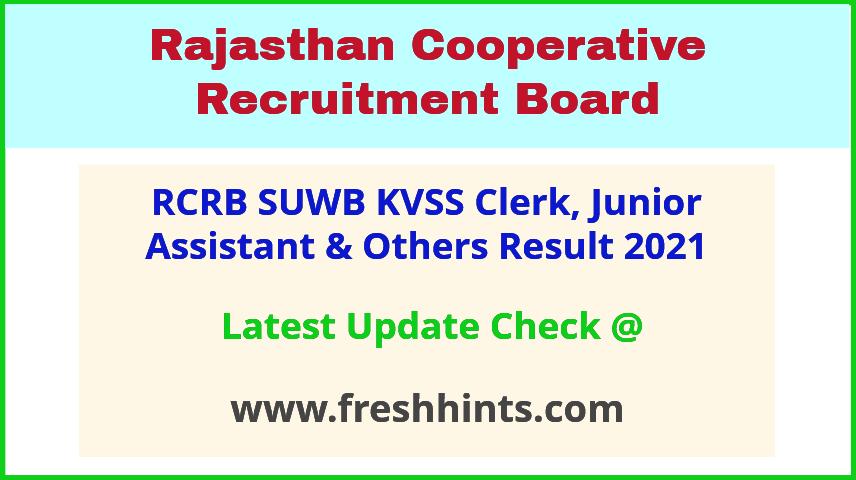 RAJCRB Clerk Junior Assistant Selection List 2021