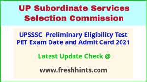 UP Preliminary Eligibility Test Hall Ticket 2021