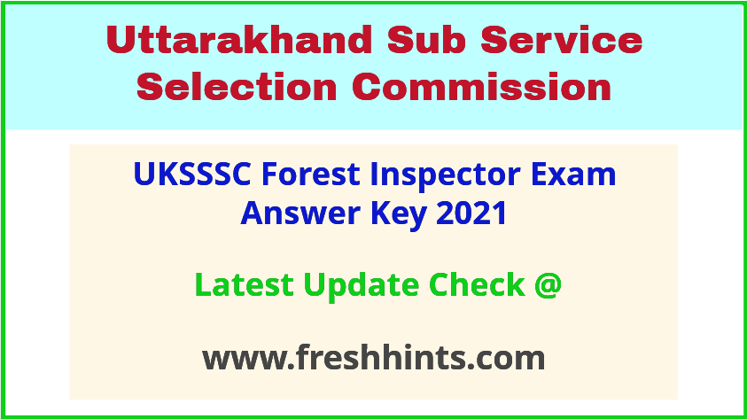 Uttarakhand Van Daroga Answer Sheet 2021
