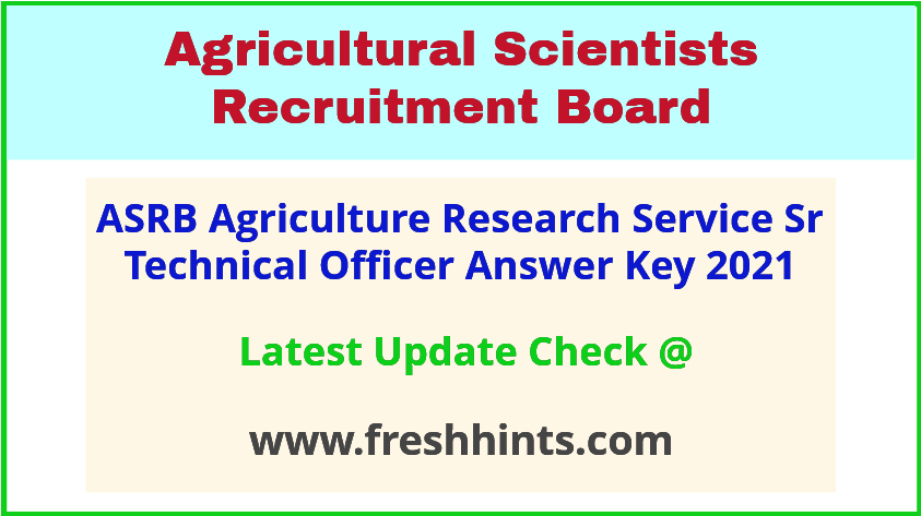 ASRB Agriculture Research Service Exam Answer Sheet 2021