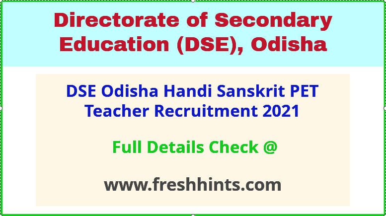dse odisha sanskrit PET teacher recruitment 2021