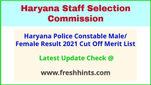 HSSC Police Constable Male Female Selection List 2021