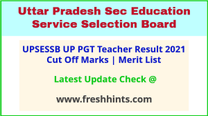 UPSESSB PGT Teacher Selection List 2021
