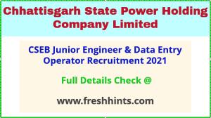 CSEB junior engineer & DEO recruitment 2021