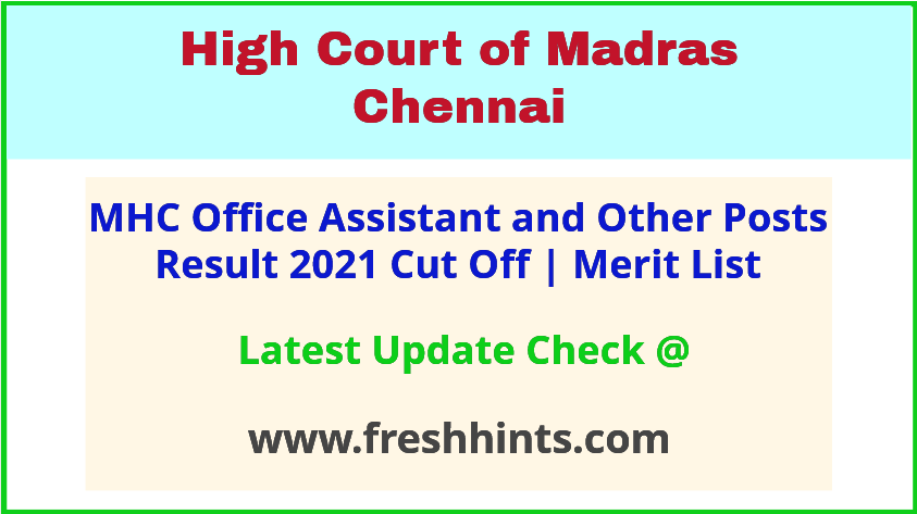 Madras High Court Office Assistant Selection List 2021