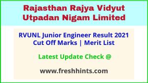 RVUNL Junior Engineer Selection List 2021