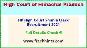 hp high court shimla recruitment 2021