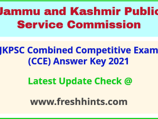 JK Combined Competitive Exam Answer Sheet 2021