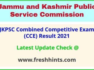 JK Combined Competitive Exam Selection List 2021