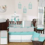 gray and turquoise chevron cribbedding