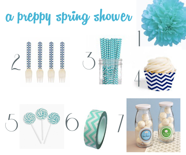 peppy spring shower with aqua, navy and chevron