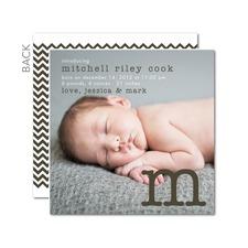 chevron gray birth announcement