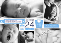 Collage birth announcement features details in a cute way.