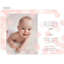 polka dot rose pink birth announcement