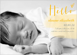 simple yellow birth announcement