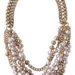 champagne pearl and gold necklace