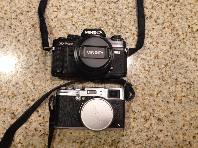 Old v. New -  Minolta on top from the 90s.  x100s from 2013.