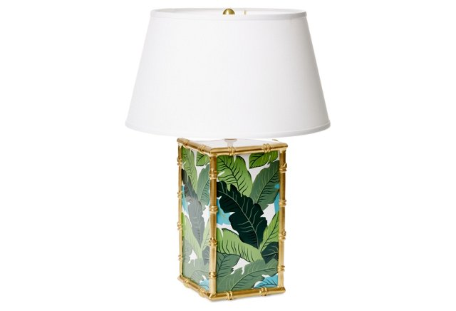 Banana leaf lamp with bamboo