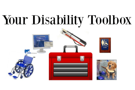 Toolbox with wheelchair, white cane, guide dog and signage around it