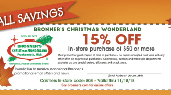 """Bronner's: """"The"""" Christmas Store- NEW Coupon To Use!"""