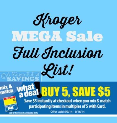 Kroger Mega Sale 9 3 9 16