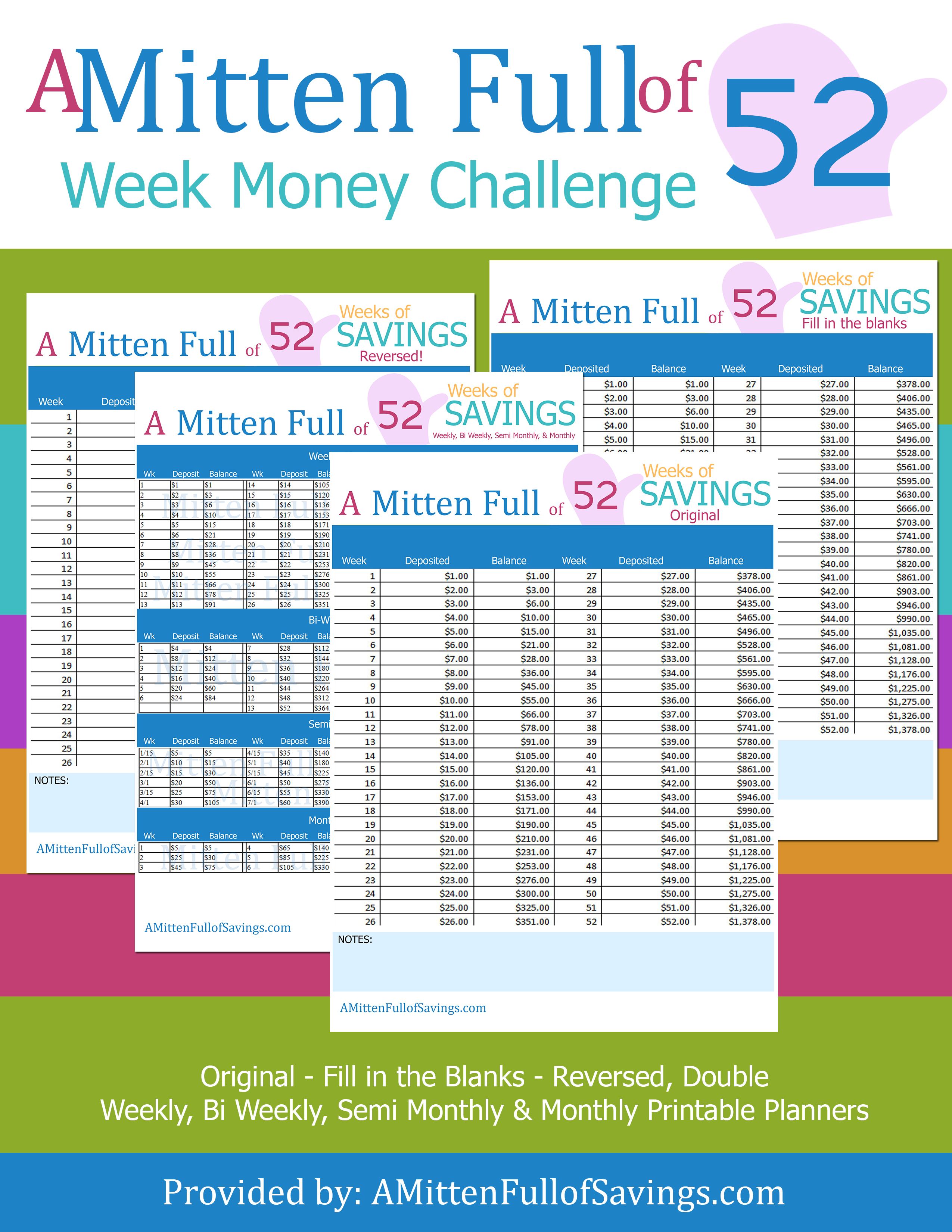 photograph relating to 52 Week Money Saving Challenge Printable identify The 52 7 days Monetary Conserving Difficulty Printables towards are living upon