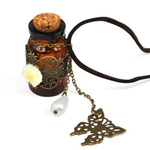 Vintage Hollow Butterfly Wishing Bottle Necklace