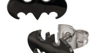 Stainless Steel Post with Batman Cut Stud Earrings