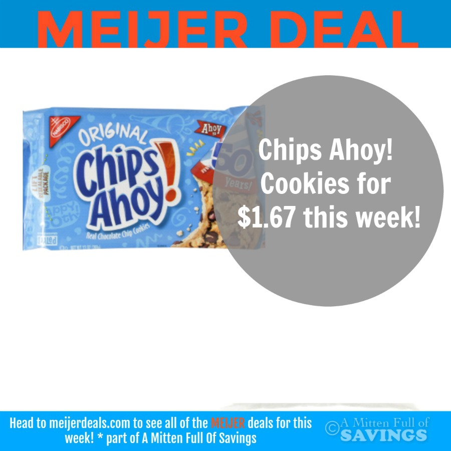 image about Chips Ahoy Coupons Printable titled Meijer: Chips Ahoy! Cookies $1.67 - New Outta Period