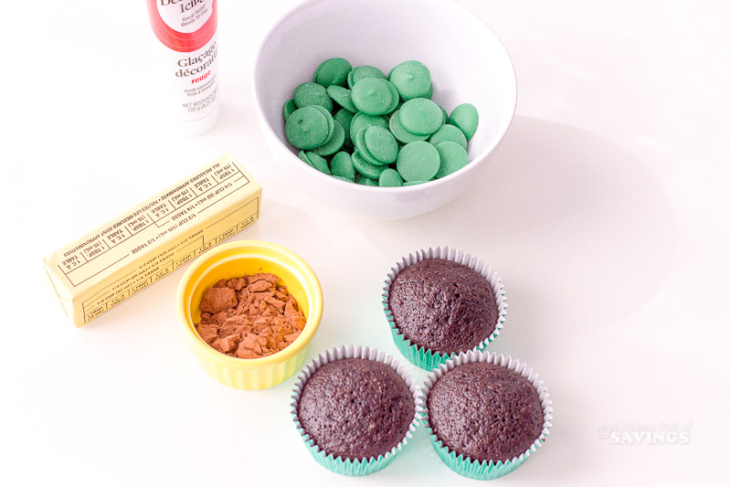 Ingredients for Holly Christmas Cupcakes