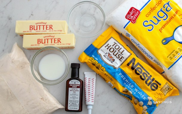 Ingredients for Peppermint White Chocolate Cupcakes