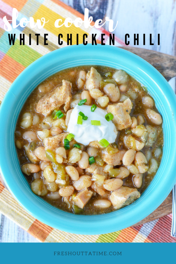 It's that time of year again when a good Slow Cooker White Chicken Chili is a must in our menu plan! Not only is this something that is super easy to make on busy days, but it is perfect comfort food. Depending on what you add as toppings, it is also a very healthy option so great for most dietary needs!