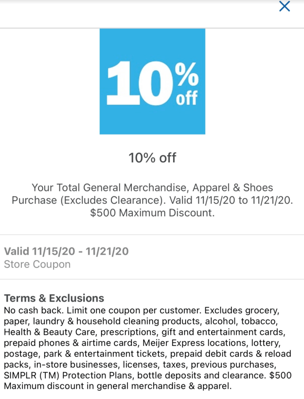 Meijer: 10% General Merchandise mPerk & How To Use It