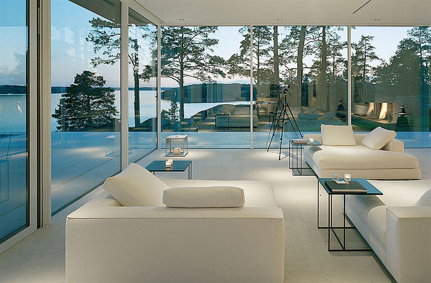 lake house living room photos solid wood tables white sofas views stunning in sweden