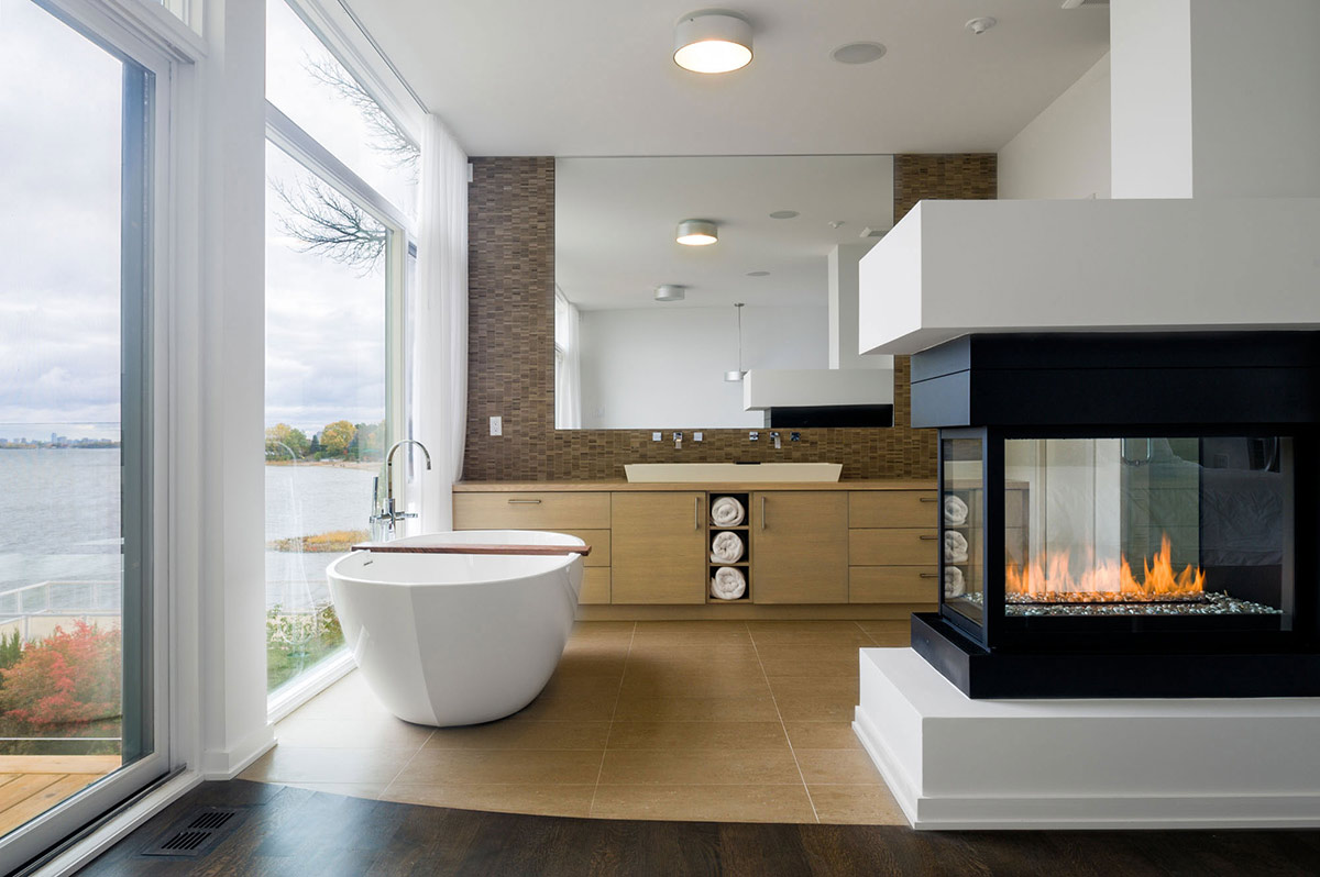 Bathroom Fireplace Riverside Home in Ottawa Canada